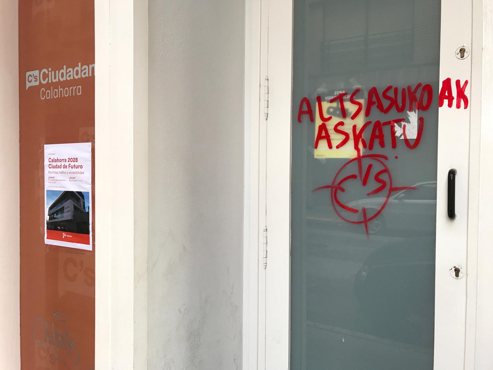Independentistas atacan a sede de Cs en Calahorra con dianas de tiro por el Caso Alsasua
