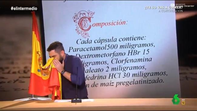 Imputado Dani Mateo (La Sexta) por sonarse la nariz con la bandera