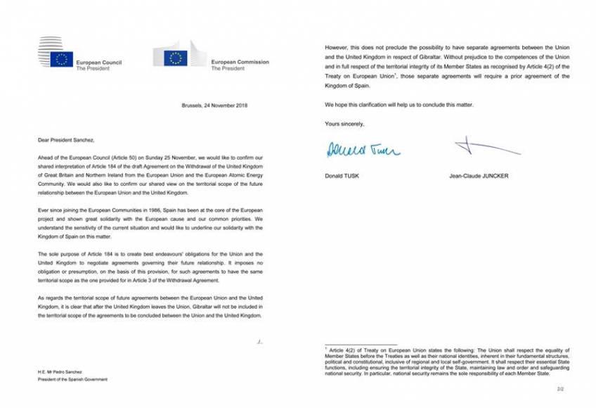 """Acuerdo del Brexit: """"España decidirá el futuro de Gibraltar"""""""