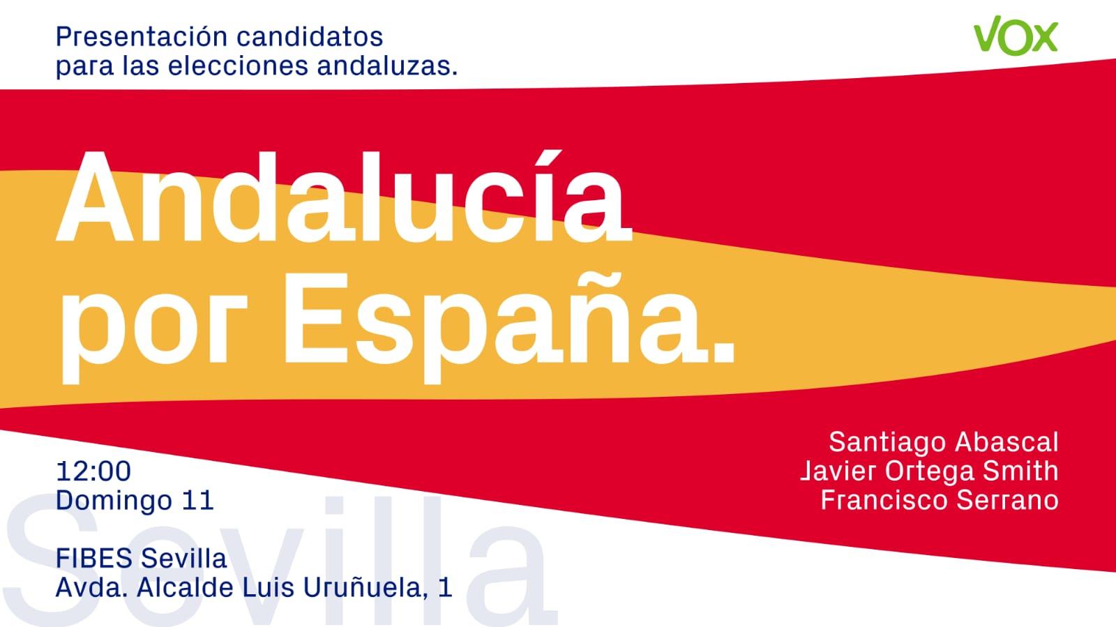 """VOX despertará a Sevilla el domingo 11-N con su """"Andalucía por España"""""""