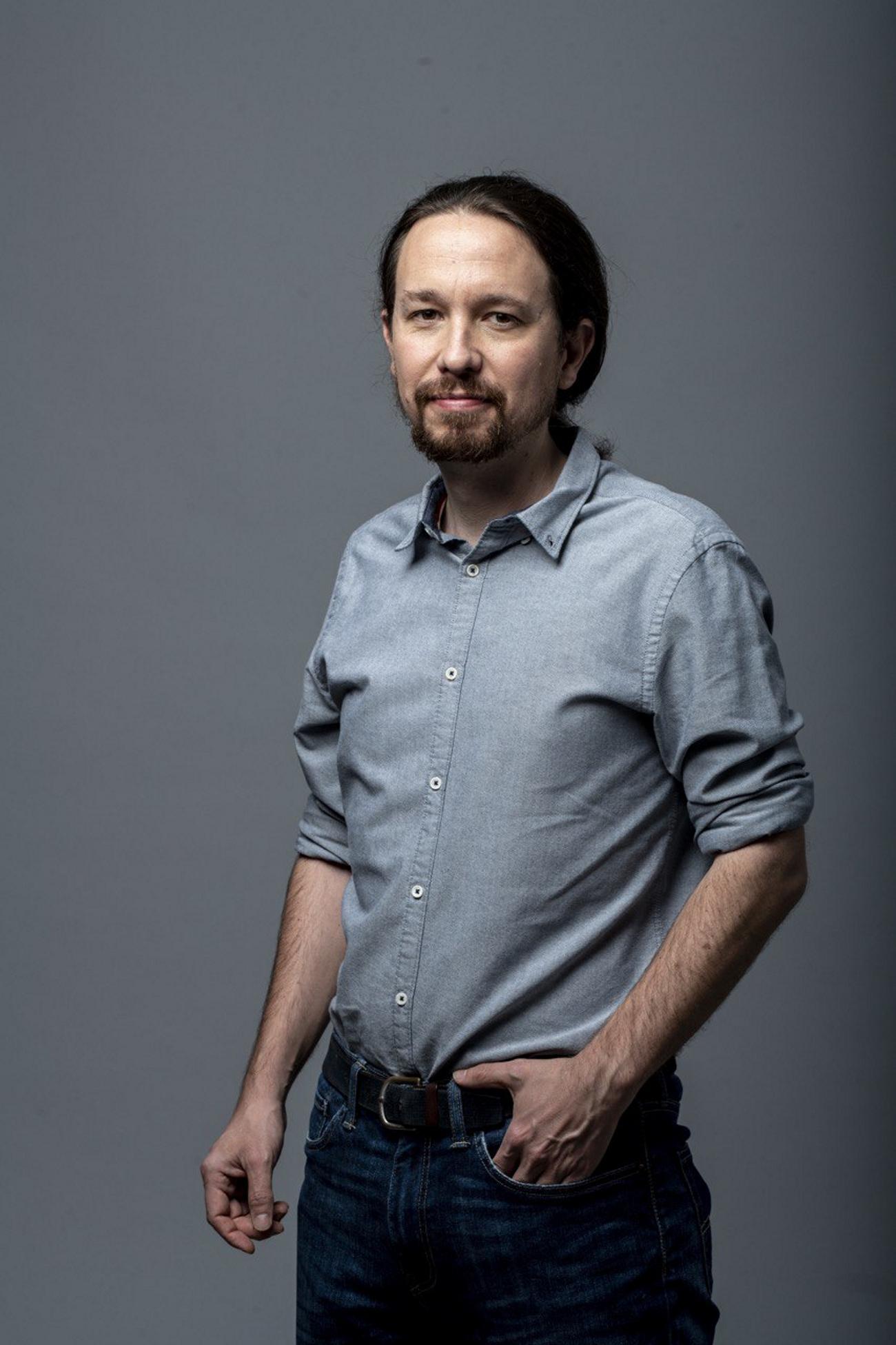 FOTOGRAFÍA. MADRID (ESPAÑA), 12.04.2019. Imagen de campaña electoral del candidato de la alianza d ela ultraizquierda (Unidas Podemos), Pablo Manuel Iglesias. Ñ Pueblo