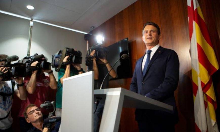 FOTOGRAFÍA. BARCELONA (ESPAÑA), 19.07.2019. El ex primer ministro francés Manuel Valls y concejal del ayuntamiento de Barcelona. Efe
