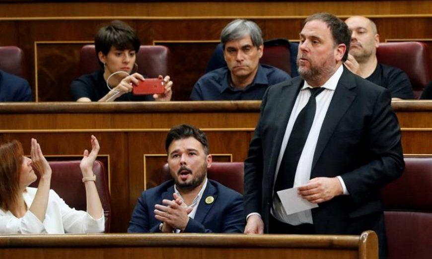 FOTOGRAFÍA. CONGRESO DE LOS DIPUTADOS DLE REINO DE ESPAÑA (MADRID), MAYO DE 2019. El golpista rebelde líder de ERC, Oriol Junqueras, que se encuentra en prisión provisional. Efe