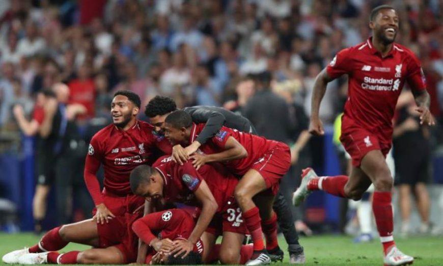 FOTOGRAFÍA. MADRID (ESPAÑA), 01.06.2019. Los jugadores del Liverpool celebra la consecución de una nueva Copa de Europa, la sexta, en el Wanda Metropolitano. Efe