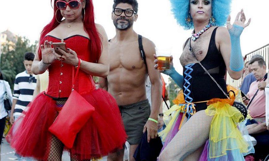 FOTOGRAFÍA. MADRID (ESPAÑA), 07.07.2018. Vista de unos de los protagonistas de la fiesta y marcha del orgullo gay «World Pride» Madrid 2018, hoy en las calles de Madrid. Efe