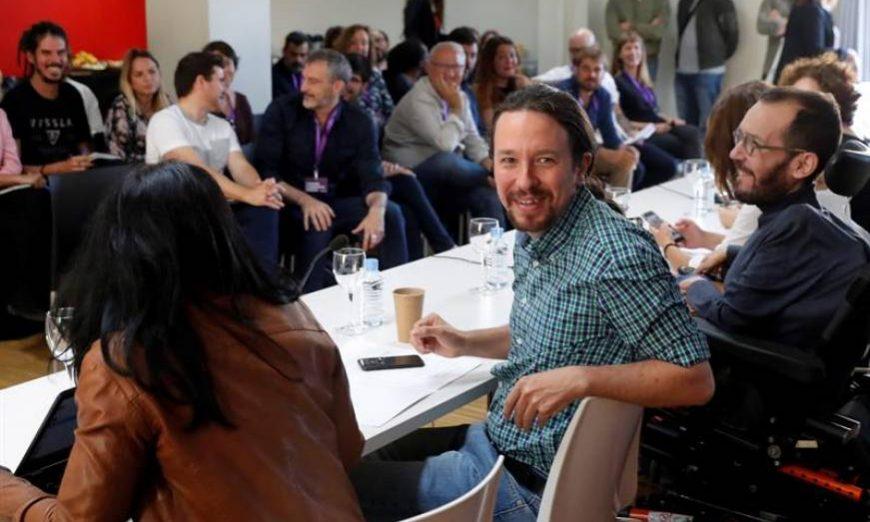 FOTOGRAFÍA. MADRID (ESPAÑA), 08.07.2019. El líder de Podemos Pablo Iglesias, y Pablo Echenique, secretario de organización de Podemos, en el Consejo Ciudadano Estatal de Podemos. Efe