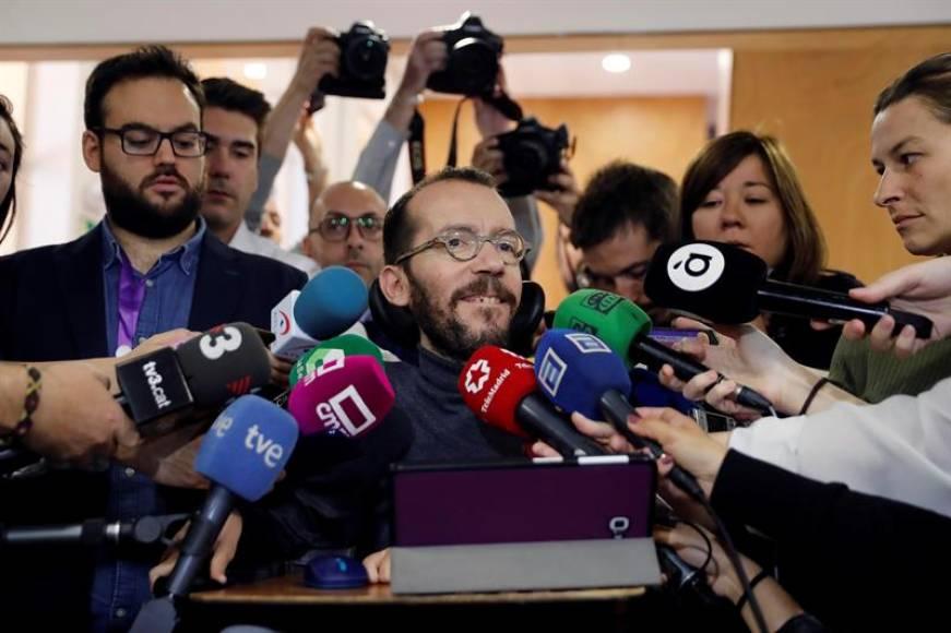 FOTOGRAFÍA. MADRID (ESPAÑA), 08.07.2019. Pablo Echenique (c) secretario de organización de Podemos. Efe
