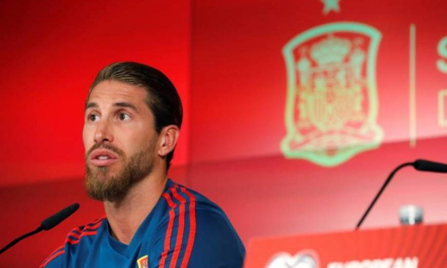 FOTOGRAFÍA. MADRID (ESPAÑA), 09.07.2019. El capitán de la selección española de fútbol, Sergio Ramos, durante la rueda de prensa. Efe