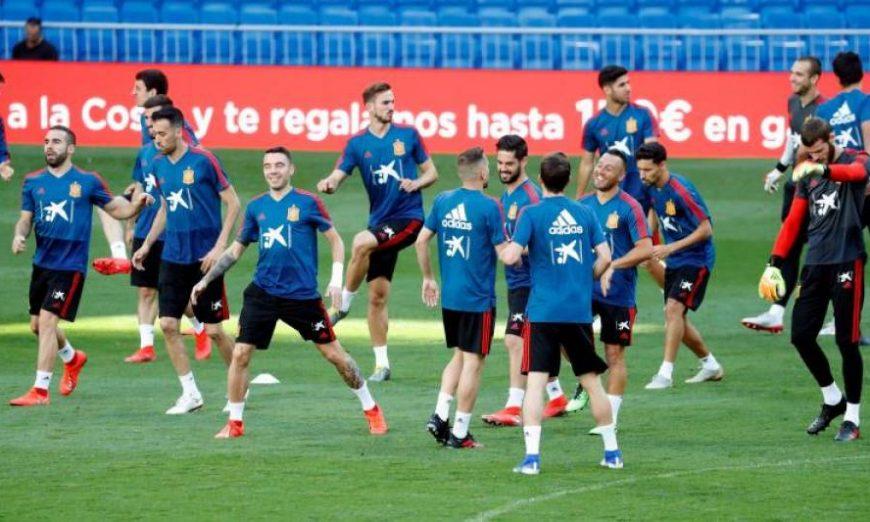 FOTOGRAFÍA. MADRID (ESPAÑA), 09.07.2019. Los jugadores de la selección española de fútbol durante el entrenamiento que han realizado esta tarde. Efe