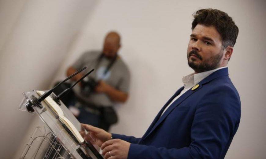 FOTOGRAFÍA. MADRID (ESPAÑA), 13.07.2019. El portavoz de ERC en el Congreso, Gabriel Rufián, durante la rueda de prensa. Efe.