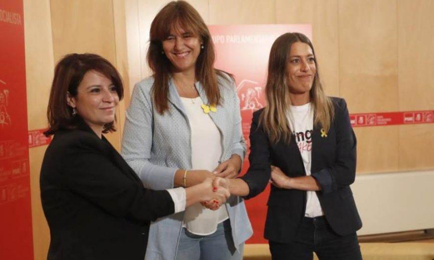 FOTOGRAFÍA. MADRID (ESPAÑA), 13.07.2019. La portavoz del Grupo Socialista en el Congreso, Adriana Lastra (i). Efe.