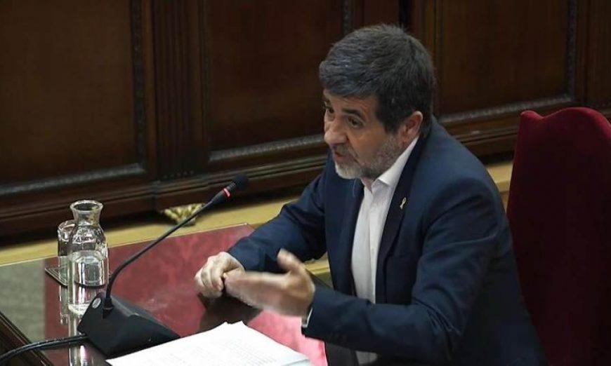 FOTOGRAFÍA. MADRID (ESPAÑA), TRIBUNAL DEL PROCÉS, 12.07.2019. Imagen tomada de la señal institucional del Tribunal Supremo, del exlíder de la ANC Jordi Sànchez. Efe