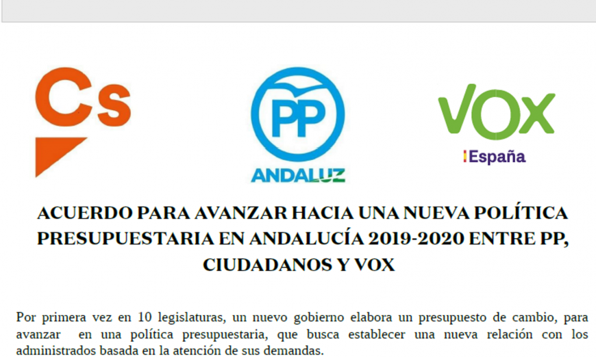 FOTOGRAFÍA. SEVILLA (ANADALUCÍA), 12.07.2019. Pacto de Ciudadanos Cs, VOX y PP para aprobar los presupuestos regionales de Andalucía hoy en el Parlamento de Andalucía. Ñ Pueblo (1)