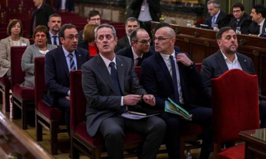 FOTOGRAFÍA. TRIBUNAL SUPREMO (MADRID) ESPAÑA, MES DE JUNIO DE 2019. Vista de los encausados del «Procés» sentados en el banquillo. Efe